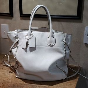 Coach tall Tatum tote in chalk white
